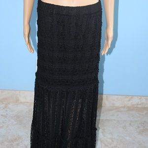 xhilaration Long Black Lace Dress W/ Mini Slip